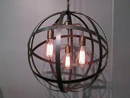 wine barrel lighting. Industrial Steel Orb Sphere Wine Barrel Ring Chandelier 3 Light Antique Brass Ceiling Fixture Lighting