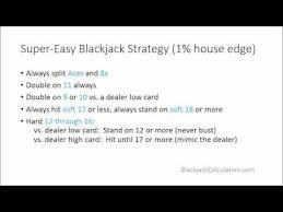 Blackjack Simple Strategy Chart Super Easy Blackjack Strategy In 1 Minute 1 House Edge