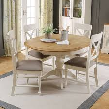 sworth cream painted round extending dining table and 4 chair set the furniture market