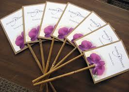 Hawaiian Tropical Purple Orchid Beach Wedding Program Fan Natural