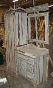 all natural edge cedar panels linen closet vanity sm