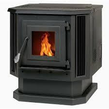 pellet stove with black louvers