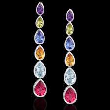 multicolor gemstone pendant earrings