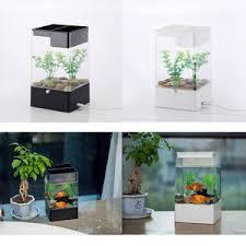 office desk fish tank. Image Is Loading LED-Light-Square-USB-Interface-Aquarium-Ecological-Office- Office Desk Fish Tank EBay