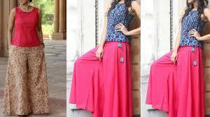 Designer Palazzo Pants Online India Latest Palazzo Pants With Tops Kurti Plazo Pants With