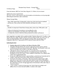 thematic essay practice foreign policy actions