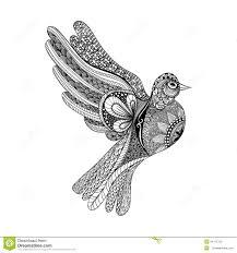 голубь Zentangle стилизованный флористический на день мира голубь