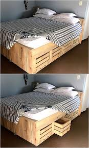 Bed can be prepared by using the reclaimed wooden pallets along with the  storage, the