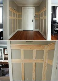 diy boards are used to create framework to an entry way in this project take a look at the before and after pictures to see how much more finished the