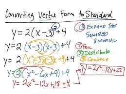 y intercept vertex form math converting vertex form to standard form math algebra quadratic math