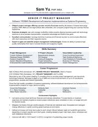 It Project Manager Experienced Resume Sample Monster Com Templates