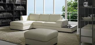 Modern Low Profile Sectional Sofa in White Leather modern-living-room