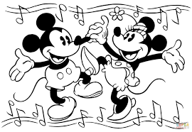 Small Picture Minnie and Mickey Mouse Are Dancing coloring page Free Printable