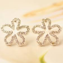 <b>Korea</b> Style Fashion <b>Five Leaf Flower</b> Rhinestone Stud Earring ...