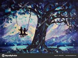 oil painting fantastic landscape guy girl ride swing big dark stock photo