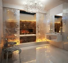modern bathroom lighting luxury design. simple design luxury chandelier in bathroom lighting design with built white bathtub  and floral glass sliding door also wall mounted vanity under large square  intended modern
