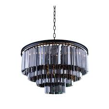elegant lighting sydney 17 light mocha brown chandelier with silver shade grey crystal