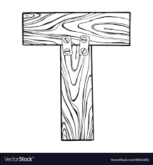 wooden letter t engraving vector image