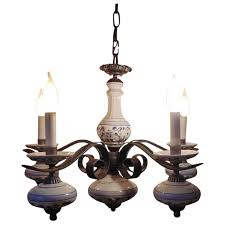 vintage delft iron chandelier light fixture blue