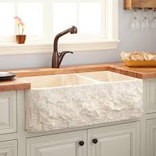33 polished marble 70 30 offset double bowl farmhouse