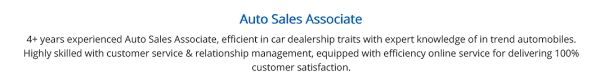 Car Salesman Resume The 2019 Guide With 10 Examples