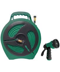 hose reel flat with 1 nozzle 1 male adapter