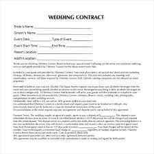 Sample Contract For Catering Services Wedding Contract Template