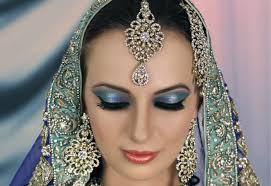 bridal makeup tutorial blue turquoise with subtle glitter indian asian stani contemporary look you
