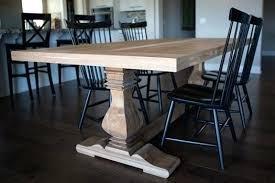 trestle salvaged wood dining table custom made pecan trestle dining table salvaged wood weathered concrete trestle
