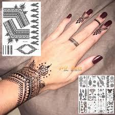 25 Styly Sexy Krajka černá Henna Dočasné Tetování Nálepka ženy