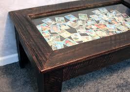 brown display coffee table rustic