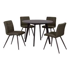 edgewater 5 piece dining set with espresso round table and armless upholstered dining chairs in espresso brown fabric
