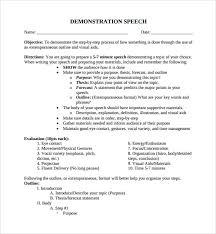 Demonstration Speech Example Template