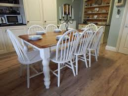 large solid beech country farmhouse dining table 8 beech windsor chairs sold