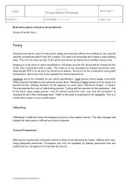 Method Of Statement Simple Plans Policies Procedure Method Statements