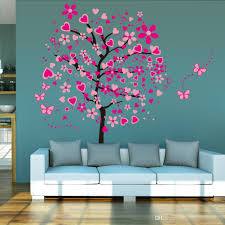 Wall Decor For Girls Hot 3d Heart Tree Butterfly Wall Decals Removable Wall Decor