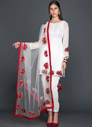 Pakistani Silk Kurtis Designs White Floral Georgette Pant Suit Silk Kurti Designs