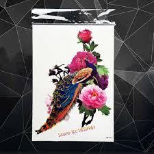 акварель павлин рисунок пион цветок флэш тату наклейки 21x15 см пикантные для