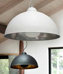 large ceiling pendant in two colours with a wire suspension and
