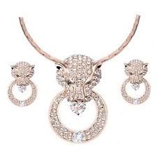 diamond lion head rose gold plated jewelry whole african costume jewelry set