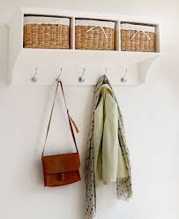 White Coat Rack With Storage Tetbury white hanging shelf with 100 baskets Bathroom decor 8
