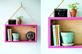 hang shelf without nails wooden box into modern hanging blue colored wall square books plant vase top shelves without how to hang a wall shelf with nails