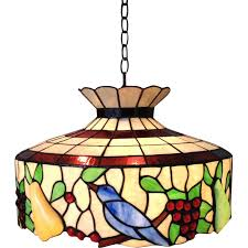 unique stained glass chandelier large stained glass chandelier birds fruit light fixture sold on