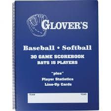 Glovers 9 To 15 Player Baseball Softball Scorebook 30 Gam