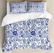 watercolor duvet cover set artistic vibrant blue flowers pattern feminine fl spring ornaments decorative bedding set with pillow shams