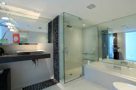 sophisticated white bathtub and single swing glass shower doors added floating vanity washbasin in contemporary bathroom decors views
