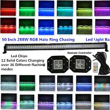 50 Inch Light Bar Halo Honzdda 50inch Led Light Bar Offroad 288w 12solid Color Changing Halo Light Bar With2pcs Halo Ring Flush Mount Led Work Light