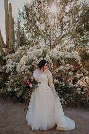 curvy bride plus size wedding dress with illusion sleeves