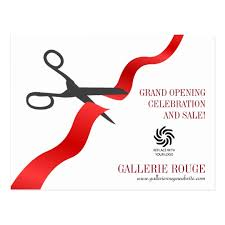 Grand Opening Postcards Simple Red Ribbon Cutting Grand Opening Postcard Zazzle Com
