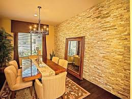 faux brick wall in bedroom faux brick wall dining room traditional with beige ceiling beige striped
